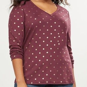 Lane Bryant Classic V-neck Tee Maroon Dotted Dot